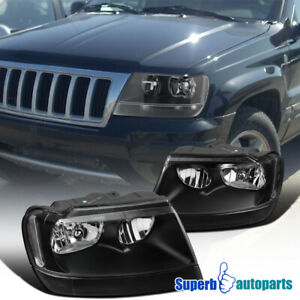 For 1999 2004 Jeep Grand Cherokee Black Replacement Head Lamps Headlights Pair