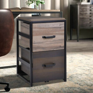 2 Drawers File Organizer Steel Mdf Walnut File Cabinet Home Office Filing