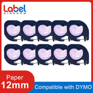 10pk Compatible Dymo Letratag Refill 16952 Clear Plastic Label Tape 12mm Lt 100h