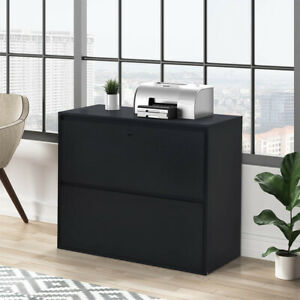 Lateral File Cabinet Safe With Lock 2 Drawers Locking Filing Organizer Black