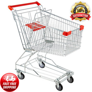 Utility Shopping Cart Jumbo Basket Grocery Laundry Outdoor Push Rolling Wheels