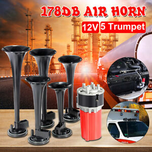 5pcs Car Trumpets Musical Dukes Of Hazzard Dixie Air Horn 125db Compressor 12v