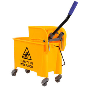 Used 20l Commercial Wet Mop Bucket Wringer Combo Side Press Yellow Heavy Duty
