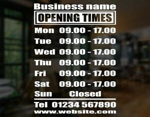 Custom Business Store Hours Sign Vinyl Decal Sticker Size Options