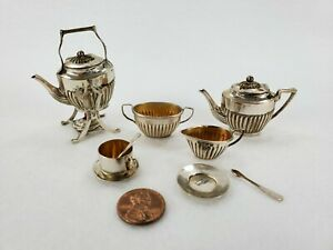 Antique English Sterling Silver Miniature Doll House Tea Hot Water Service Cs Fs