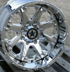 20 Chrome Lonestar Bandit Wheels 20x10 8x170 25mm Ford F250 F350 Excursion