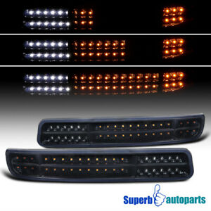 For 1999 2006 Gmc Sierra Yukon Glossy Black Led Sequential Signal Bumper Lights