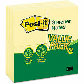 Post it Greener Notes Original Recycled Note Pads 654rp24yw 3 X 3 Yellow 3