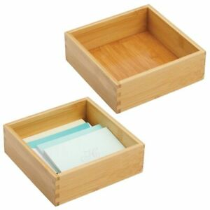 Mdesign Bamboo Office Drawer Organizer Tray 7 Square 2 Pack Natural Wood