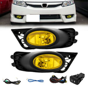 For 2009 2011 Honda Civic 4dr Sedan Bumper Yellow Fog Lights Lamps Left Right
