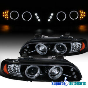 For 2001 2003 Bmw E39 525 528 Halo Projector Headlights Led Signal Glossy Black