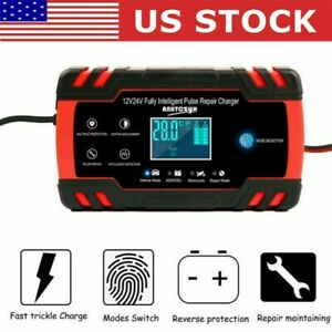 12v 24v Fast Car Battery Charger Lcd Display Automatic Smart Repair Charger