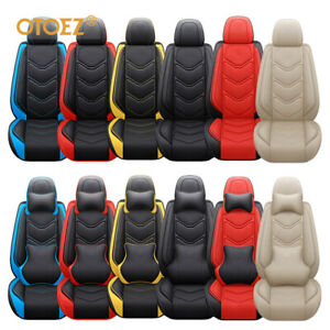 Leather Car Seat Cover Full Set Velcro Design Universal Fit Most Auto truck suv
