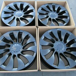 21 Tesla Model Y Satin Semi Black Wheels Rims Original Parts Oem 4 Alloys 2020