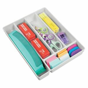 Mdesign Plastic Home Office Supplies Drawer Organizer Tray 2 High Light Gray