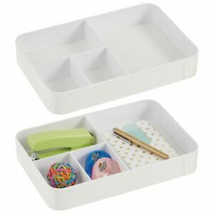 Mdesign Plastic Divided Office Drawer Organizer Tray 4 Sections 2 Pack White