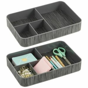 Mdesign Plastic Divided Office Drawer Organizer Tray 4 Sections 2 Pack Gray