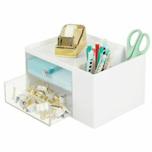 Mdesign Plastic Office Storage Caddy Desk Organizer 4 Sections White clear
