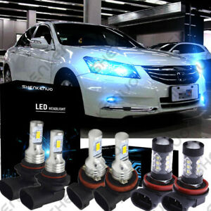 For Honda Accord 2013 2014 2015 Combo 8000k Led Headlight Kit High Low Fog Bulbs