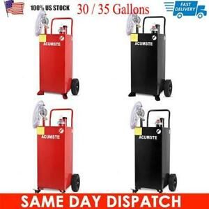 30 35 Gallon Gas Fuel Diesel Caddy Transfer Tank Container W Rotary Pump Auto