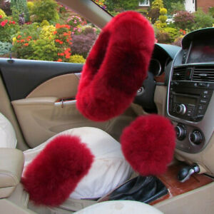 Car Steering Wheel Cover Winter Essential Furry Fluffy Warm Soft Set Red Usa