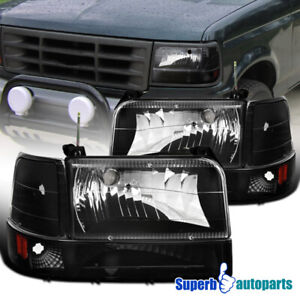 For 1992 1996 Ford F150 F250 F350 Bronco Black Headlights corner Signal bumper