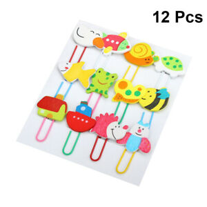 12pcs Paper Clips Wooden Animal Cute Stationery Note Mark Bookmark For Children