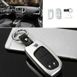 For Jeep Cherokee 2014 2020 Zinc Alloy Silver Key Case Shell Cap Protector Trim