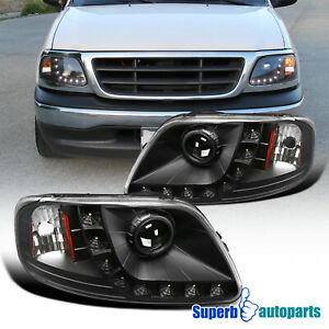 For 97 03 Ford F150 Expedition Black Projector Headlights W Led Lamps