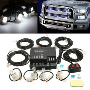 Emergency Strobe Light Headlight Kit Warning System 4 Hid Bulbs White 120w 12v