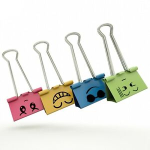 Color Binder Clips Small Size Color Metal Clips 3 4 Clamp 40 Counts