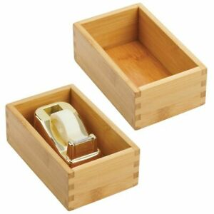 Mdesign Bamboo Office Drawer Organizer Tray 6 5 X 4 2 Pack Natural Wood