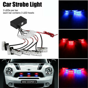 Car 6x 3leds Red Blue Dash Flash Lights Emer Strobe Gency Police Warning Lamps