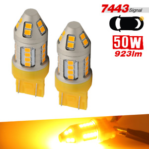 New 2x 7443 7440 Led Amber Drl Front Turn Signal Lamp Light Bulbs