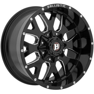 4 20 Inch Ballistic 853 Tank 20x10 8x6 5 8x170 19mm Black milled Wheels Rims