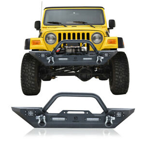 For 87 06 Jeep Wrangler Tj yj Textured Front Bumper W winch Plate Led Lights