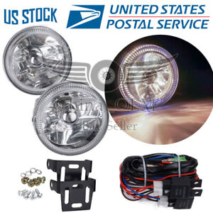 Chrome Housing Clear Lens Fog Driving Lights Universal 3 Round White Halo Lamps