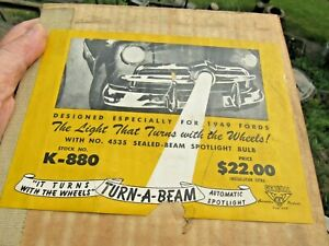 Vintage Original 1949 Ford Turn A Beam Automatic Spotlight k 880 Nos Mib Rare