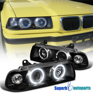 For 1992 1998 Bmw E36 2 4dr 325i M3 Dual Halo Projector Headlight Black