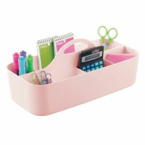 Mdesign Portable Plastic Home Office Storage Utility Tote Caddy Large Pink