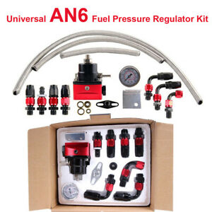 Universal Fuel Pressure Regulator Gauge An6 Fuel Line Hose Fitting Black Red Kit
