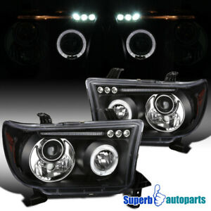 For 2007 2013 Toyota Tundra Sequoia Led Halo Projector Headlights Lamps Black