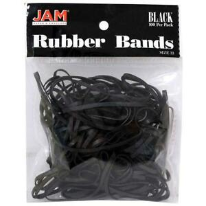 Jam Paper Colorful Rubber Bands Size 33 Black Rubberbands 100 pack