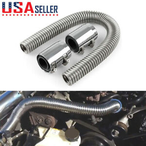 24 Stainless Steel Radiator Flexible Coolant Water Hose With Caps Kit Universal