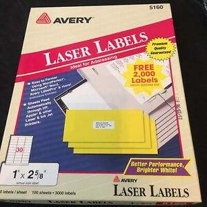 Avery 3600 Ct Laser Labels 5160 Address Labels Open Package
