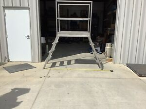 Stainless Steel Crossover Stairs Ladder Platform 45 Tall 78 Wide
