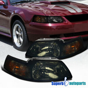 For 1999 2004 Ford Mustang V6 Gt Smoke Headlights Pair 99 04