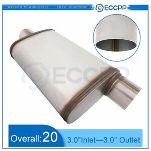 3 Inlet Offset Outlet Chambered Muffler Silencer Stainless Steel 20 In Overall