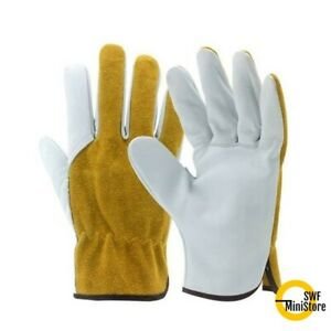 Cowhide Split Leather Work Gloves Welding Driver Diy Size M