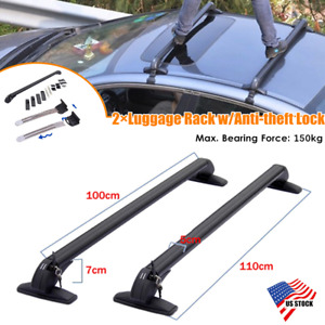 2aluminum Car Suv Roof Rail Luggage Rack Baggage Carrier Cross Stand Anti Theft